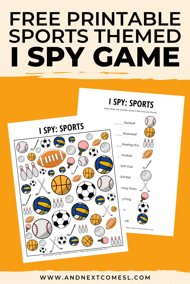 Free I spy game printable for kids: sports themed