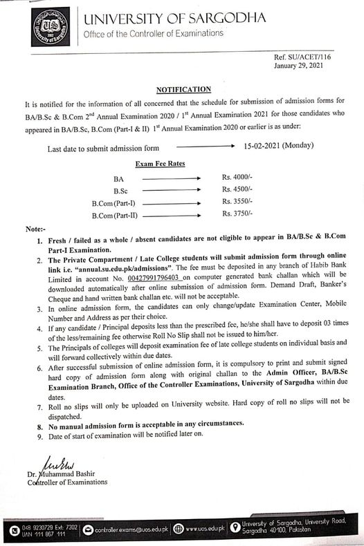 UoS BA/BSc Annual Exams Timetable 2021