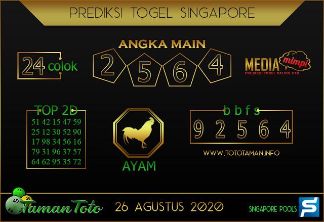 Prediksi Togel SINGAPORE TAMAN TOTO 26 AGUSTUS 2020