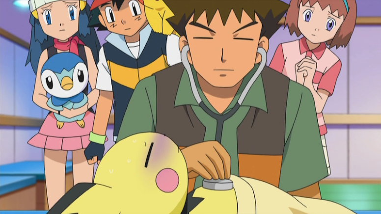 Brock Cuidando de Pokémon