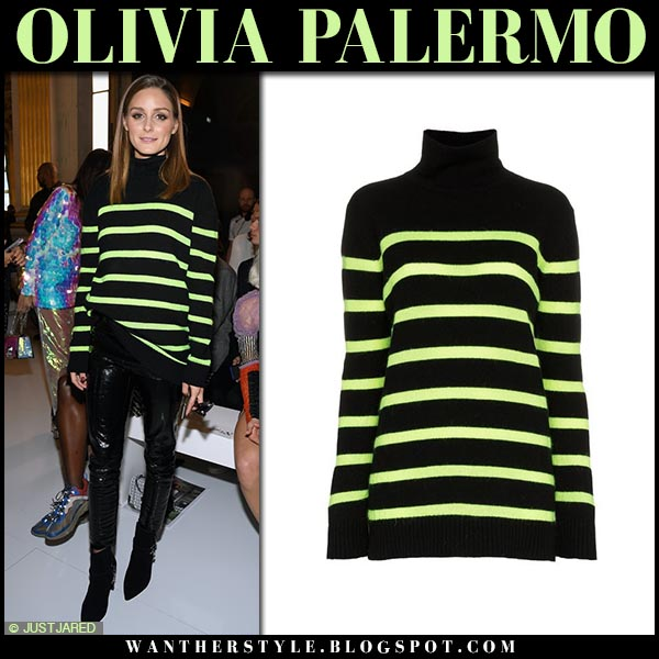 Olivia Palermo in black and neon green striped balmain sweater fashion week style september 28