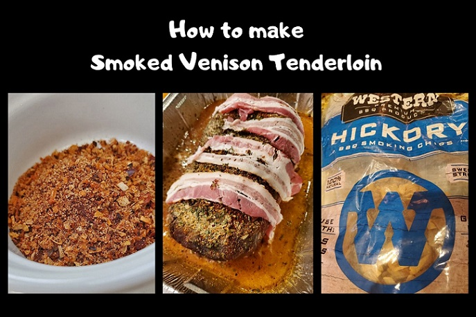this is a collage of how to make the perfect roasted venison tenderloin
