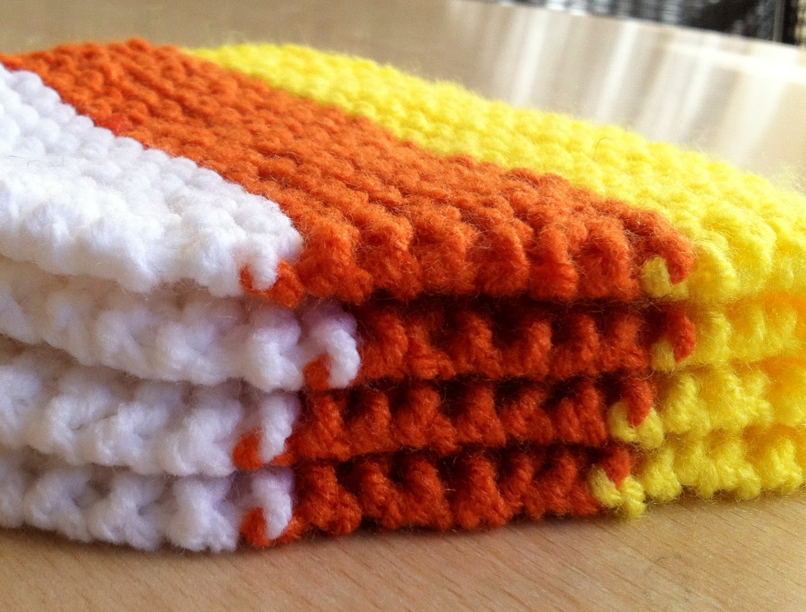 Healthy Body And Happy Wallet Hand Knit Candy Corn Coasters