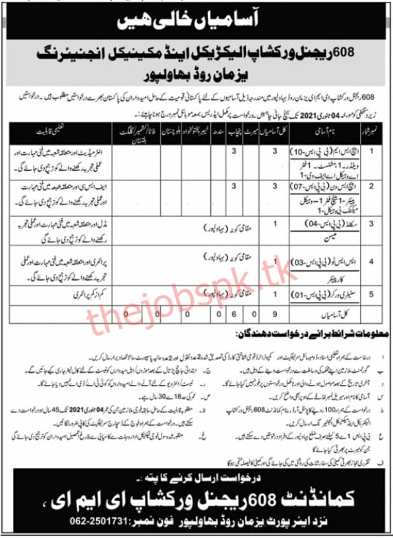 Latest 608 Regional Workshop Electrical and Mechanical Engineering Army Jobs 2021