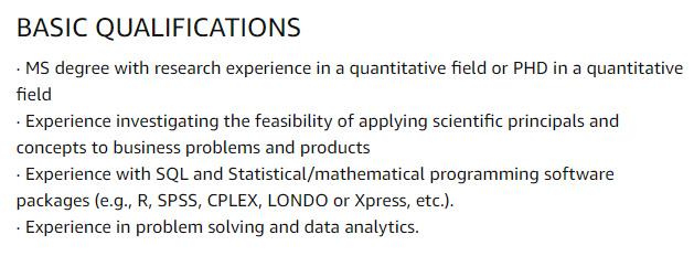 Amazon Internship Jobs for Research Science Internship