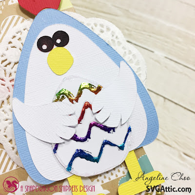 SVG Attic: My Favorite Chick with Angeline #svgattic #scrappyscrappy #jgwcottontailbunny #giftbag #papercraft #easter #thermoweb #foil #rainbowfoil #trendytwine #nuvodrop