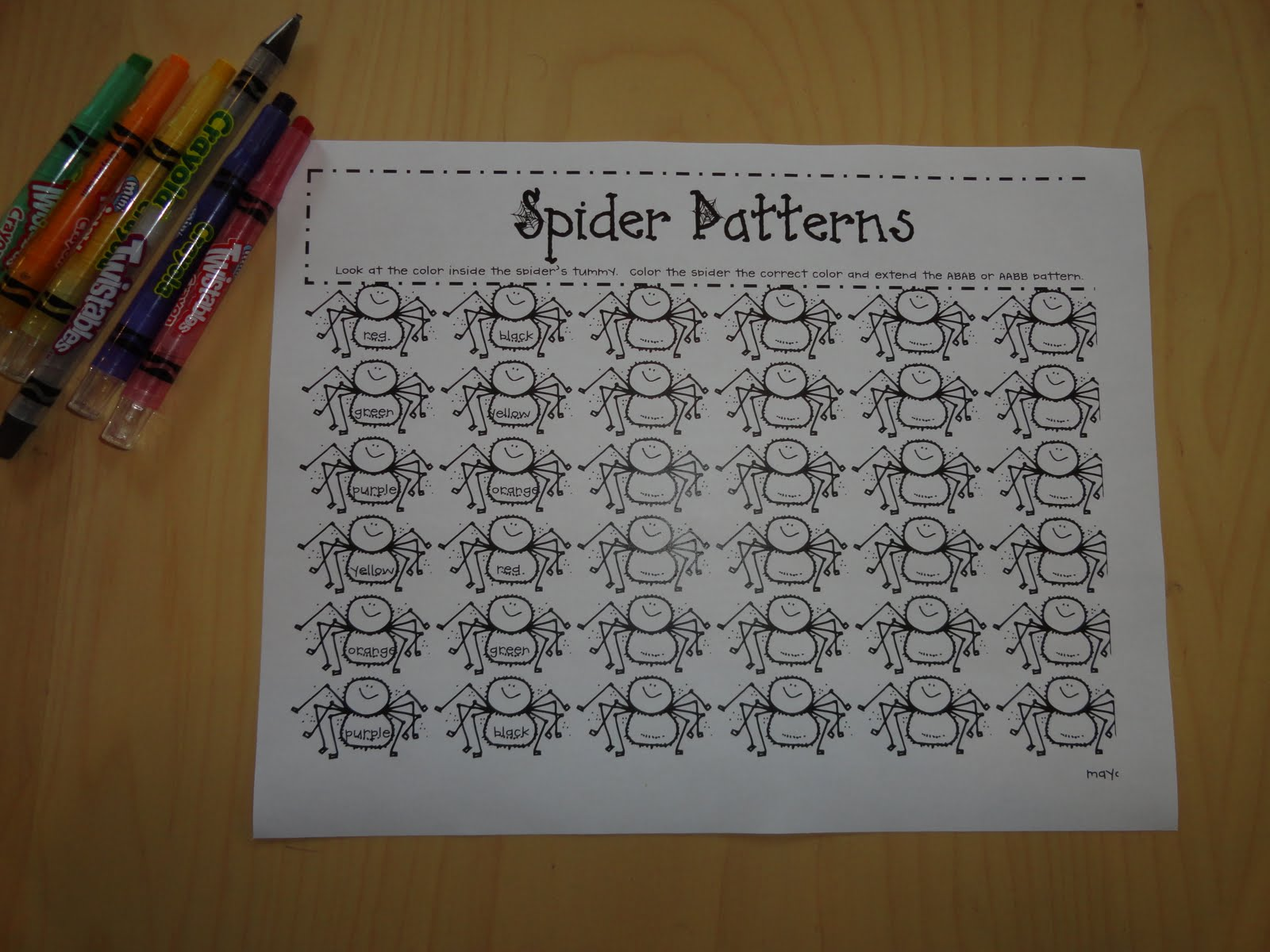 Izzie Mac And Me Kindergarten Spider Activities