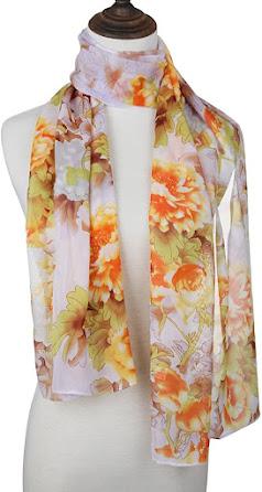 Cheap Floral Print Chiffon Scarves