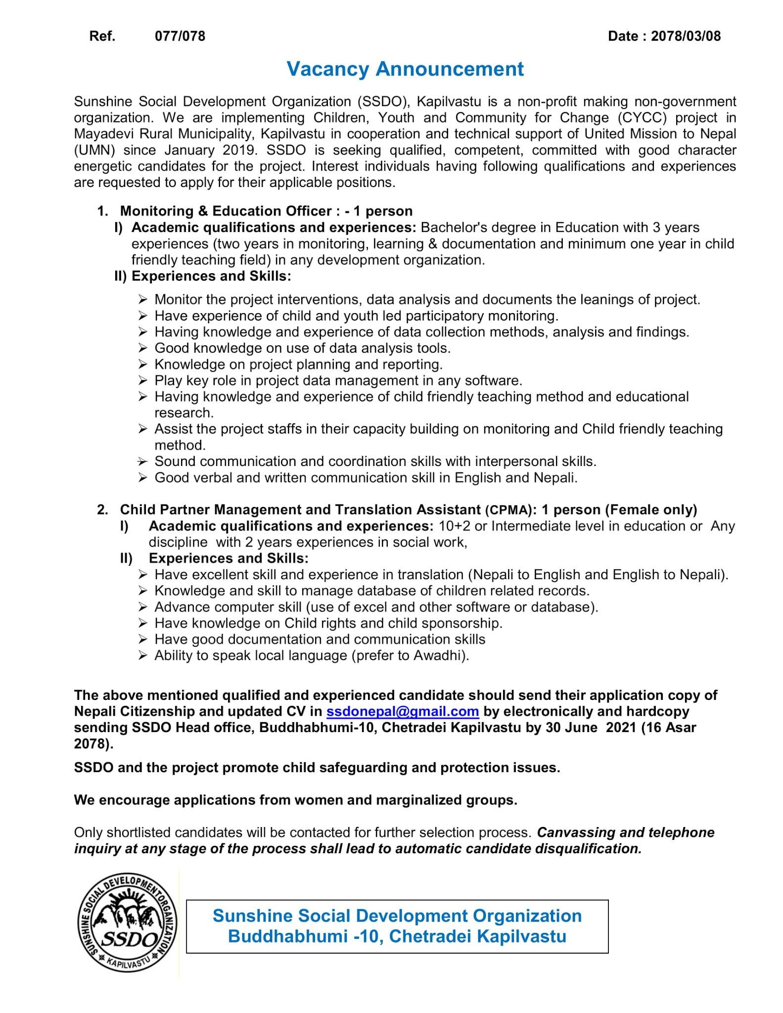 Sunshine Social Development Organization  Job Vacancy for MEO and CPMA
