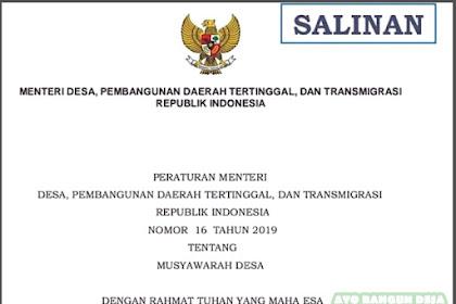 Permendesa PDTT Nomor 16 Tahun 2019 tentang Musyawarah Desa