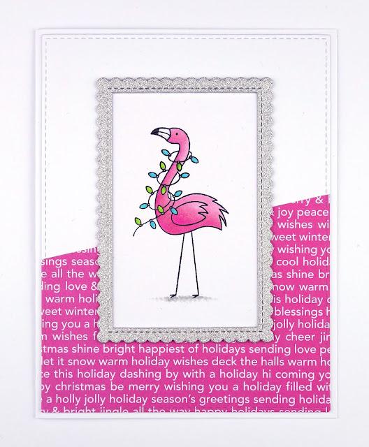 Festive flamingo Christmas card (using MFT Festive Flamingos stamps)