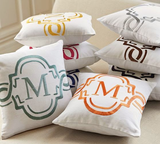 Monogramed pillows at pottery barn