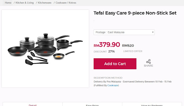 Tefal Easy Care 9 - piece Non-Stick Set cheap
