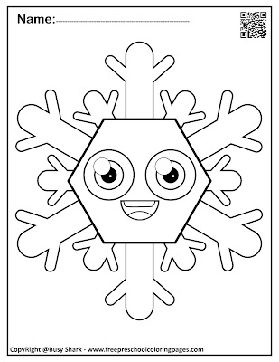 snowflakes with basic shapes preschool coloring pages ,free printables for kids, polygon