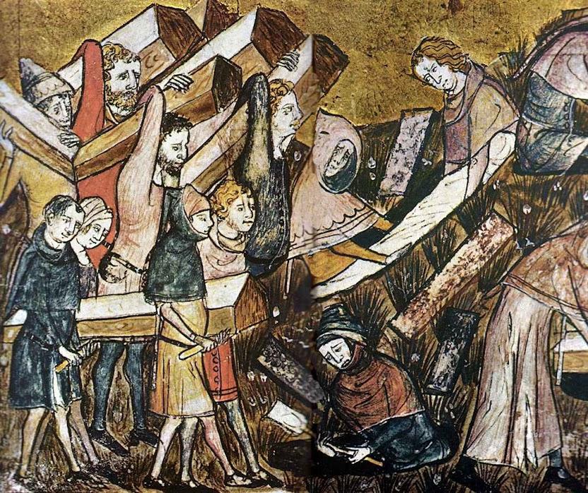 A peste era um flagelo contra o qual a medicina ainda não tinha encontrado remédio. Enterro de vítimas da peste negra em Tournai, Bélgica. Iluminura de 1353