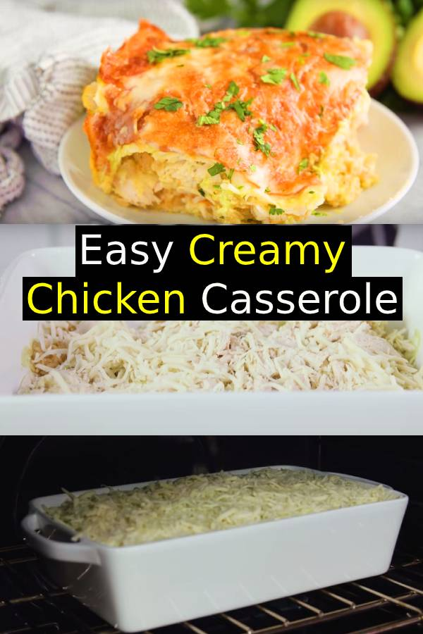 Easy Chicken Casseroles are always a good idea! This Creamy Chicken Casserole Recipe with bacon, mushrooms, and cheese. A simple chicken casserole dinner recipe. Easy Creamy Chicken Casserole Recipe with mushrooms, bacon, and cheese in a cream of chicken soup sauce. #chicken #chickenrecipe #casserole #comfortfood #dinner #maindish