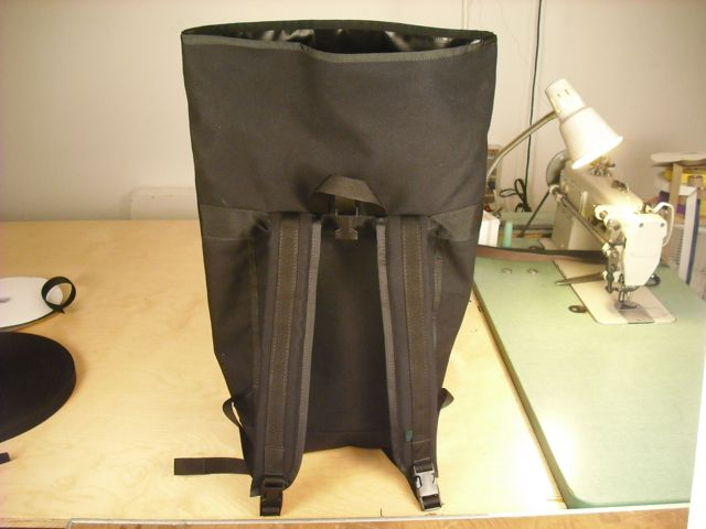 MER BAGS: small basic backpack/black canvas/roll top closure