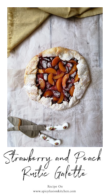Strawberry and Peach Rustic Galette, pinterest, pinterest food, food flatlay, flatlay, strawberry galette, peach galette, galette, galette recipe, fruit, strawberries, peaches, dessert, pie, tart, food, food photography, food blogger, food blog, food pictures, food recipe, dessert recipe, pastry, food stylist, spicy fusion kitchen, sweet, fruit tart, fruit galette, fruit pie, rustic galette,