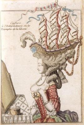 Pouf que Maria Antonieta usou em homenagem à independência americana,  que foi conquistada com a ajuda de navios franceses em 1779
