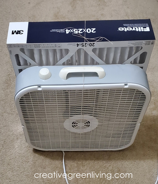 DIY homemade air purifier made with 3M filter and box fan