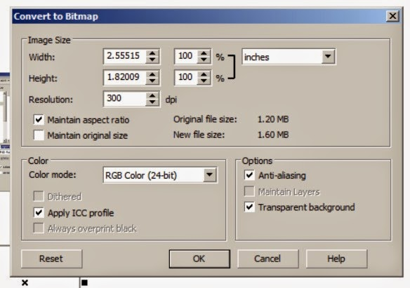How to Export from CorelDraw with a Transparent Background - convert to bitmap