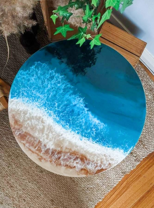 Ocean Resin Accent Coffee Table Epoxy