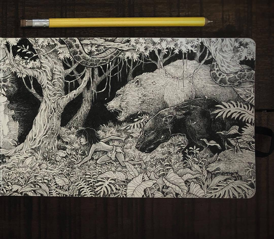 05-Mowgli-The-Jungle-Book-Kerby-Rosanes-Free-Hand-Detailing-and-Doodling-www-designstack-co