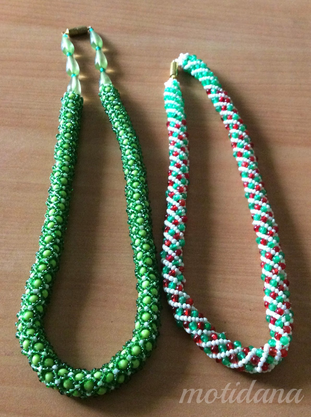 spiral rope beaded , tubular bead netting