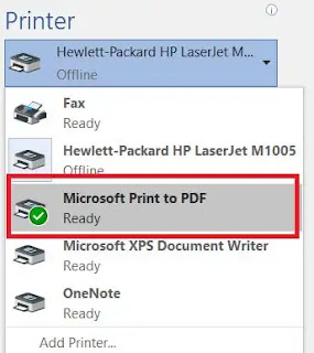 List of all the printers installed to the computer.