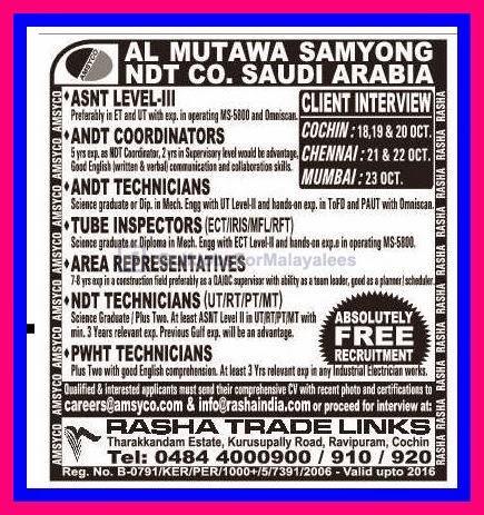 Almutawa Samyong Ndt Co Ksa Gulf Jobs For Malayalees