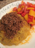 Ripe Plaintain-Beef-Peppers-Tomatoes