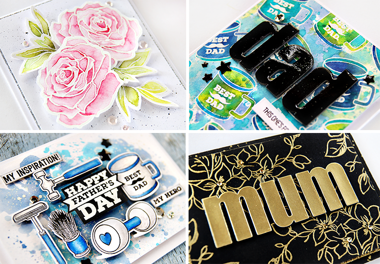Cards by Erum Tasneem featuring Altenew Penned Rose, Best Mom and Best Dad Stamp Sets. @pr0digy0
