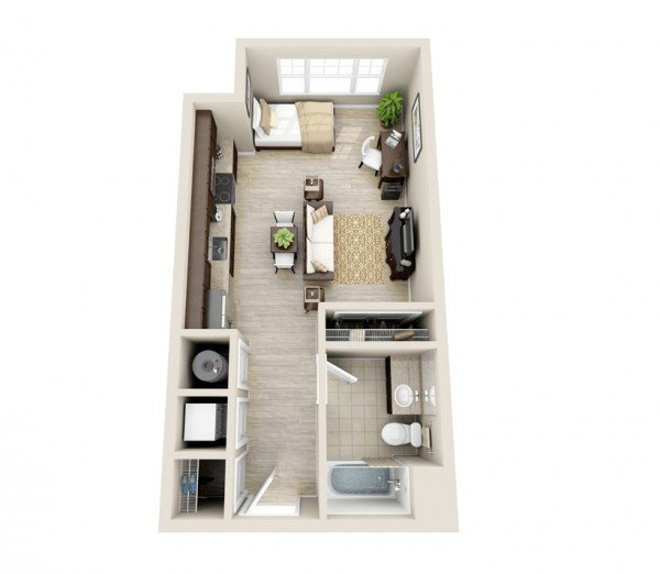 open style studio one bedroom apartment design