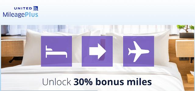 酒店積分兌換United Airlines(美聯航)可多賺取30%里程(11/30前有效)