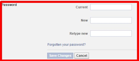 How do I change my password on facebook