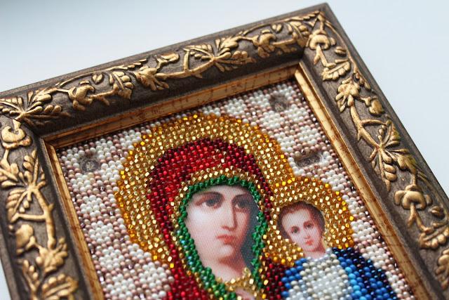 Икона Казанской Божьей Матери вышивка бисером Икона бисером