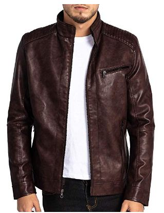 VICALLED Mens Leather Jacket