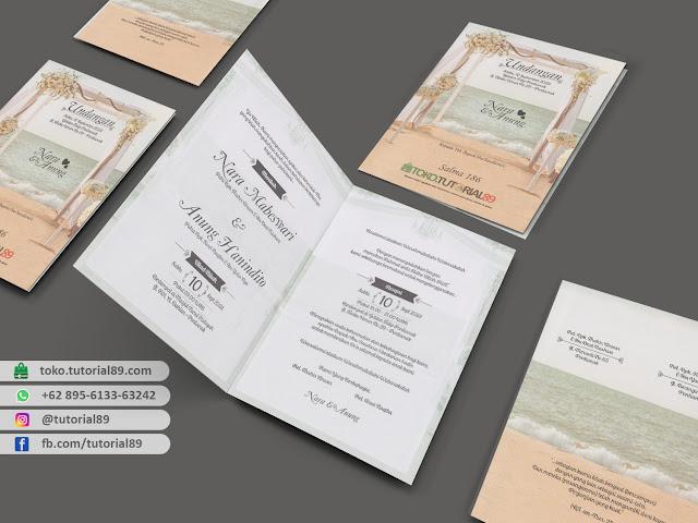 Undangan pernikahan 89.S186 - Seimpel Lipat 2 +stiker label undangan