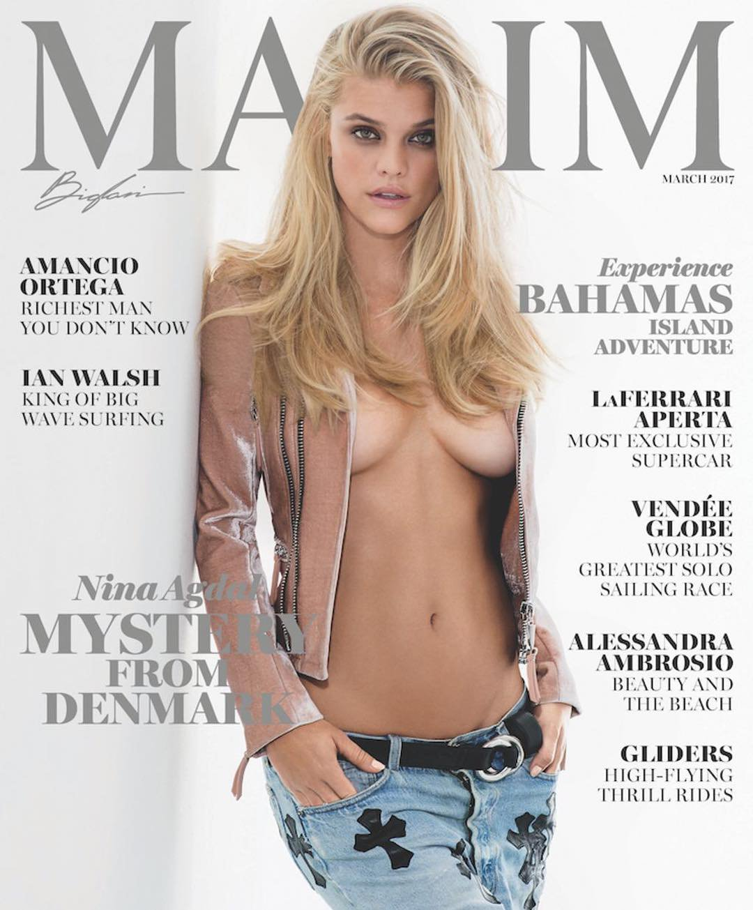 Nina Agdal goes braless for Maxim March 2017