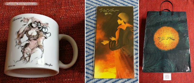 Shenmue merchandise: Niao Sun mug (left), Shenhua CD single (center) and carry bag from the Shenmue Premiere (right).
