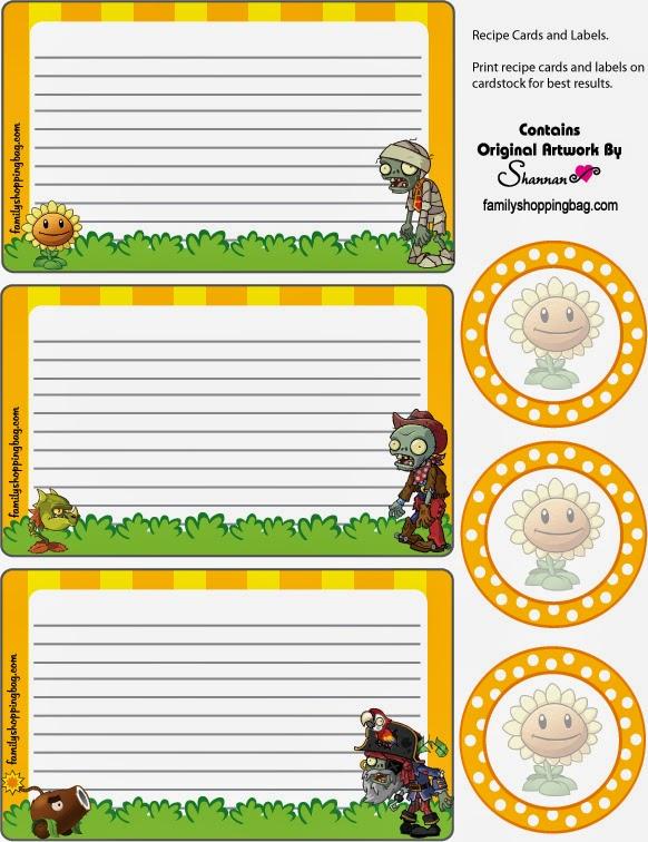 Invitaciones y Toppers para Imprimir Gratis de Plantas vs Zombies.