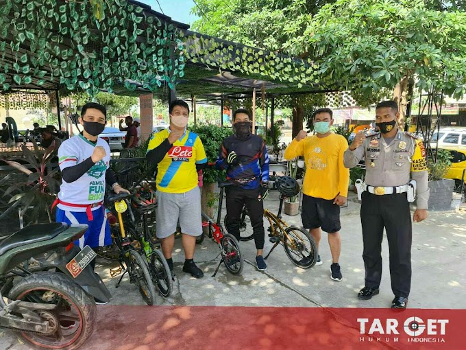 Sasar Komunitas Sepeda Lipat, Satlantas Polres Gowa Edukasi 4M Tangkal Covid-19