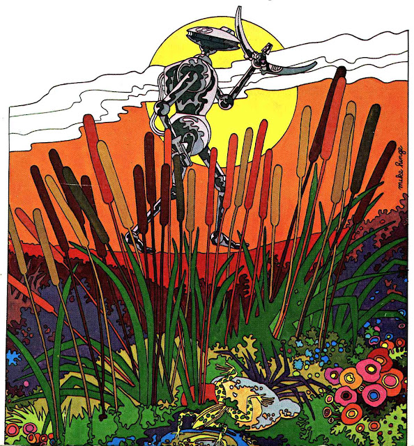 a Mike Hinge 1972 illustration of a robot walking in swamp wetlands and bullrushes