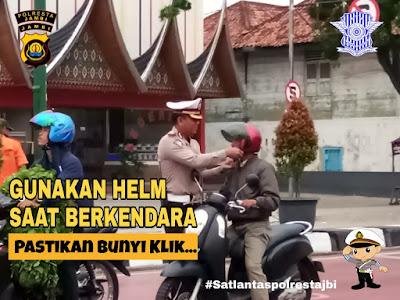 Kasat Lantas Polresta Jambi Himbau Kepada Seluruh Pengendara Roda Dua Untuk Gunakan Helm SNI