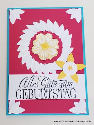 Geburtstagskarte mit Blumen in Resteverwertung Stampin' Up! www.eris-kreativwerkstatt.blogspot.de