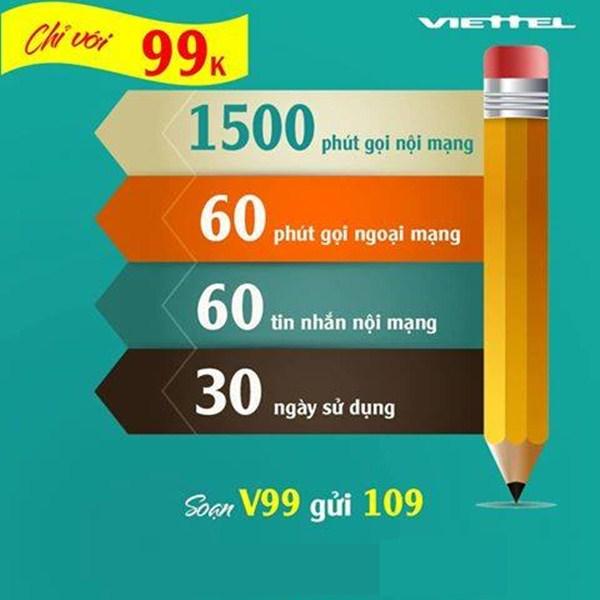 Đăng ký gói V99 Viettel, nhận ngay tới 1500 phút thoại