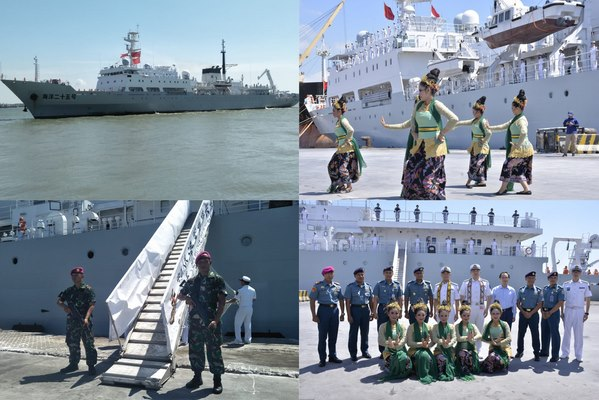 Kapal Perang China Bersandar di Tanjung Perak Surabaya, Disambut dengan Tarian