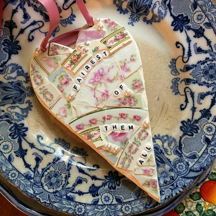 Broken china mosaic heart designed by Laura Beth Love, Emmaus, PA