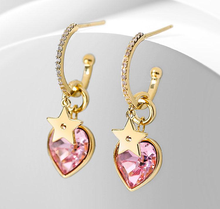 粉紅甜心水晶鋯石耳環
