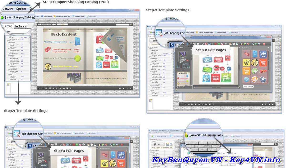 Download và cài đặt Flip Shopping Catalog 2.4.9.30 Full Key, Ứng dụng cho các trang thương mại điện tử.